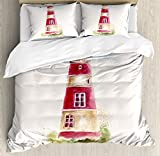 Lighthouse Duvet Cover Set King Size by Ambesonne, Watercolor Lighthouse Print Pastel Faded Vintage Lettering Windows Grass Clouds, Decorative 3 Piece Bedding Set with 2 Pillow Shams, Multicolor