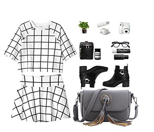 NICOLE&DORIS Sencillo Mode Bolsos de Mano para Commuter Mujer Monederos Mujer Bolso Pequeña Bolso de Flecos Bandolera Crossbody PU Blanco Gris