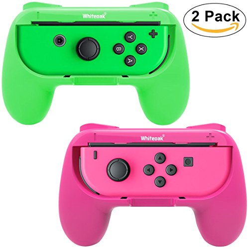 Whiteoak Joy-Con Grip, [Upgraded Version] Durable Joy-con Handle Controller Grip Kit for Nintendo Switch, 2 Pack (Green+Pink) (Switch Symbol)