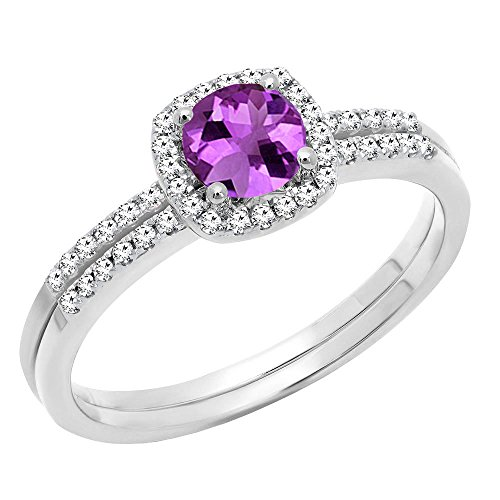(Dazzlingrock Collection 10K 5 MM Round Amethyst & Diamond Bridal Halo Engagement Ring Set, White Gold, Size 7)
