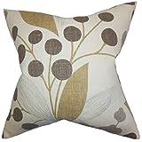 The Pillow Collection Geneen Floral Floor Pillow Raffia