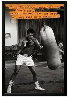 muhammad ali boxing professionally framed poster art print 24x36 on a black frame