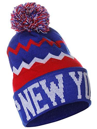 American Cities New York Chevron Zig Zags Pom Pom Knit Hat Beanie with Detchable Pin -