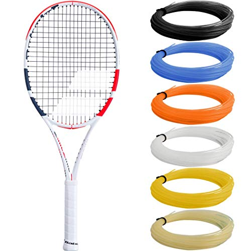 "Babolat Pure Strike 100 Tennis Racquet (3rd Gen) in 4 3/8"" Grip Strung with Red SG Spiraltek Synthetic Gut Racket String (Light Player's Racquet with Spin-Friendly Precision)"