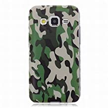 Yiizy Samsung Galaxy Core Prime / G360 Case Ultra Thin Clear Transparent Cover Soft TPU Silicone Skin Bumper Lightweight Rubber Protective Crystal Slim Fit Back Rear, Camouflage Green