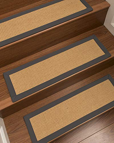 Boucle Jute - NaturalAreaRugs 100% Natural Fiber Heavy Boucle, Sisal Light Gold, Handmade Custom Stair Treads Carpet Set of 13 (9