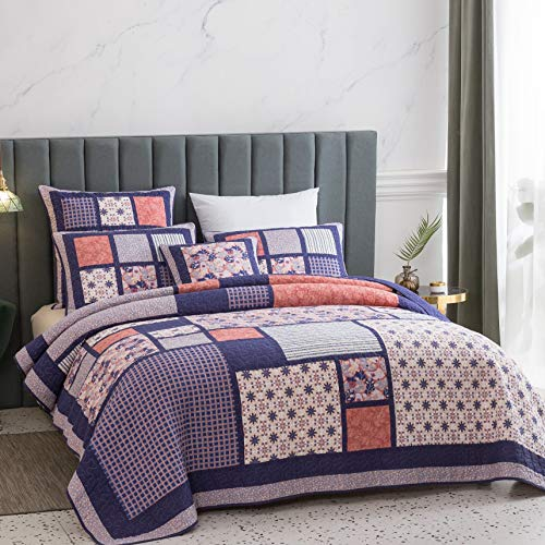 DaDa Bedding Cotton Patchwork Floral Bedspread - Cherry Blossom Quilted Design Coverlet Set - Bright Vibrant Plum Purple & Peach - Twin - 2-Pieces - Designed in USA