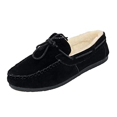 728d9f52a1b Daytwork Women Shoes Loafer Flats - Moccasin Suede Fur Lined Warm Casual  Driving Comfort Peas Gommino
