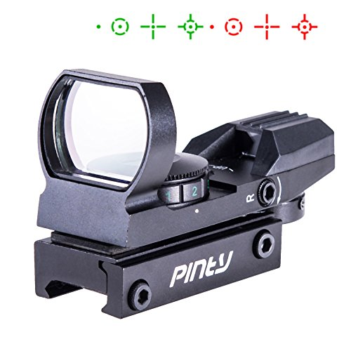 (Pinty Red Green Dot Sight Reflex Holographic Tactical Riflescope 4 Reticle Patterns With 20mm Free Mount Rails Black)