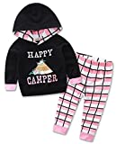 stylesilove Newborn Infant Toddler Baby Girl Happy Camper Long Sleeve Hoodie and Plaid Pants Casual Clothing Set 2-Piece (80/6-12 Months)