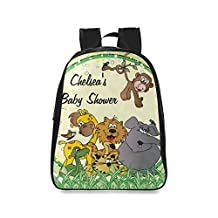 Farmost Safari Jungle Baby Animals Friends Backpack Black School Bags Travel Bag Large