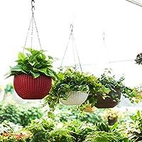 Antier 3 Pcs Hanging Baskets Rattan Waven Flower Pot Plant Pot with Hanging Chain for Houseplants Garden Balcony Decoration in Multicolor