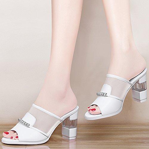 Jqdyl High Heels Neue Sommermode Wild Fruuml;hjahr High Heel Dick Mit Sandalen Weibliche Schuhe Hausschuhe  39|white
