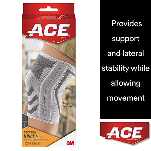 ACE Compressed Knee Brace with Side Stabilizers, Medium, America's Most Trusted Brand of Braces and Supports, Money Back Satisfaction Guarantee ()