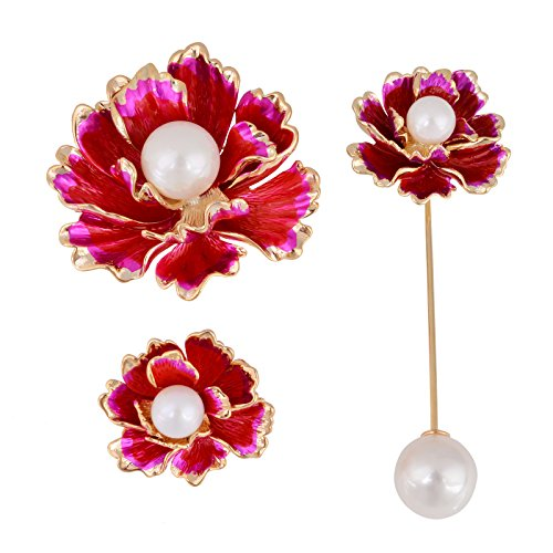 OBONNIE 3PCS Hand Painted Red Enamel Pearl Blooming Peony Rose Flower Brooch Pin Stick Pin Party ()