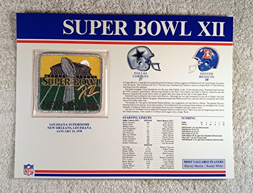 Super Bowl Xii  1978    Official Nfl Super Bowl Patch With Complete Statistics Card   Dallas Cowboys Vs Denver Broncos   Harvey Martin   Randy White Mvps