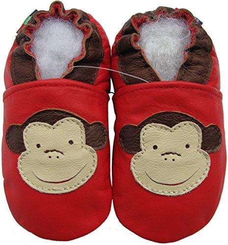 Soft Soles Monkey - Carozoo unisex soft sole leather infant toddler kids shoes Monkey Red 18-24m