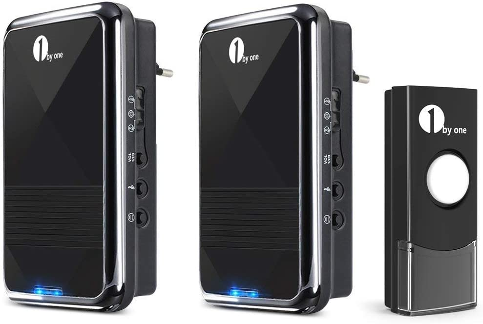 1byone Wireless doorbell Timbre inalámbrico, 2 timbres receptores enchufables y 1 pulsador / transmisor impermeable, negro