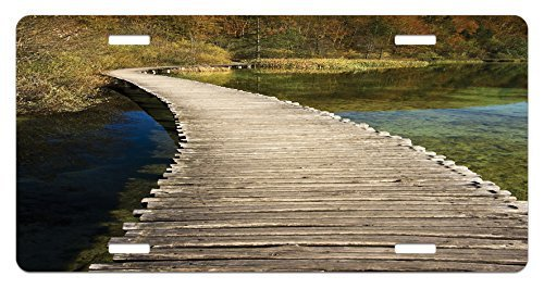 zaeshe3536658 Forest License Plate, Wooden Path Over The Lake in Forest on Sunny FalSeason Day Croatia European Photo, High Gloss Aluminum Novelty Plate, 6 X 12 Inches, Brown Green by zaeshe3536658