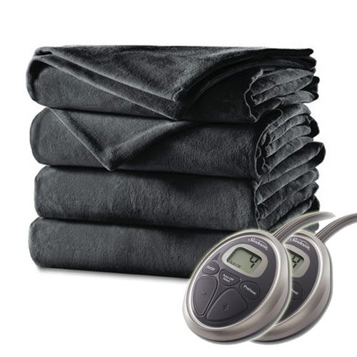 Sunbeam - Queen Size Heated Blanket Luxurious Velvet Plush with 2 Digital Controllers and Auto-off Feature - 5yr Warranty Gray Color