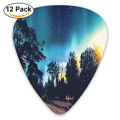 Newfood Ss Enchanted Night With Stars And Northern Lights In Sky Above Mystic Road Guitar Picks 12/Pack Set