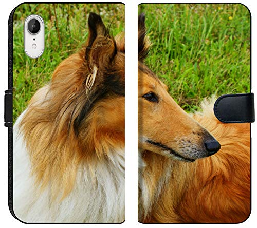 Liili Premium iPhone XR Flip Micro Fabric Wallet Case Image ID: 18794069 Portrait of Sable and White Long haired Rough Collie Dog