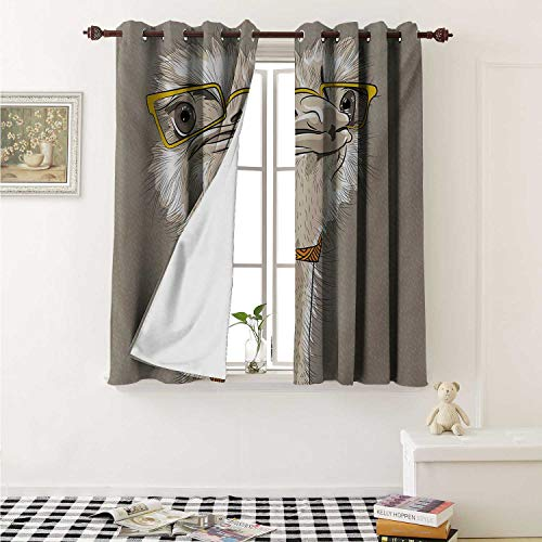 shenglv Indie Customized Curtains Sketch Portrait of Funny Modern Ostrich Bird with Yellow Eyeglasses and Tie Curtains for Kitchen Windows W63 x L45 Inch Taupe Beige ()