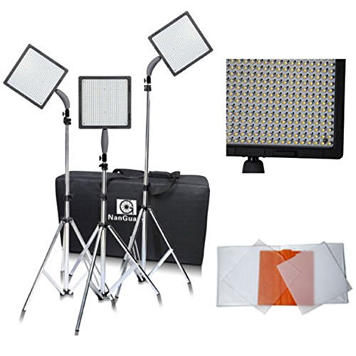 Nanguang 576 LEDs Dimmable Photography Lighting Ultra High Power Portable Led Video Light Panel Kit with Light Stand by NanGuang