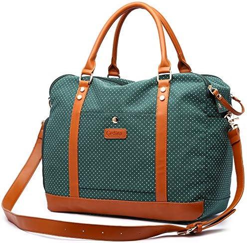 Cestina Cute Big Lady Women Canvas Travel Bag Weekender Overnight Bag Carry-on Duffel Tote Bag green dot