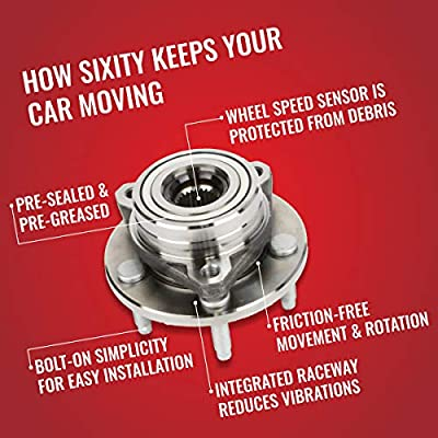 Sixity 512229 Wheel Bearing & Hub Assembly for 402.62012 RW2024 512229 21990569 22679995 22702690 22703043 730-0129 712229 BR930327 Genuine Direct Fit: Automotive