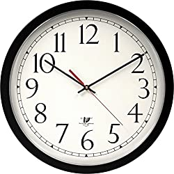 Chicago Lighthouse Contemporary SelfSet Wall Clock, Black, 14.5