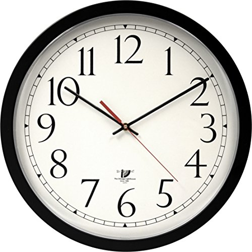 Chicago Lighthouse Contemporary SelfSet Wall Clock, Black, 14.5