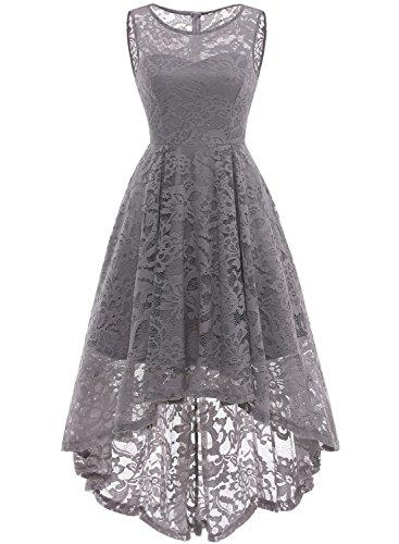 MUADRESS 6006 Women's Vintage Floral Lace Sleeveless Hi-Lo Cocktail Formal Swing Dress Grey M