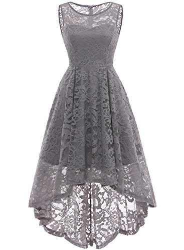 MUADRESS 6006 Women's Vintage Floral Lace Sleeveless Hi-Lo Cocktail Formal Swing Dress Grey L