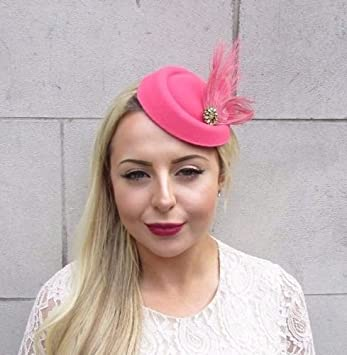 Cerise Hot Pink Gold Feather Pillbox Hat Fascinator Races Hair Clip Vintage  4656  Amazon.co.uk  Beauty e8e51b9ab82