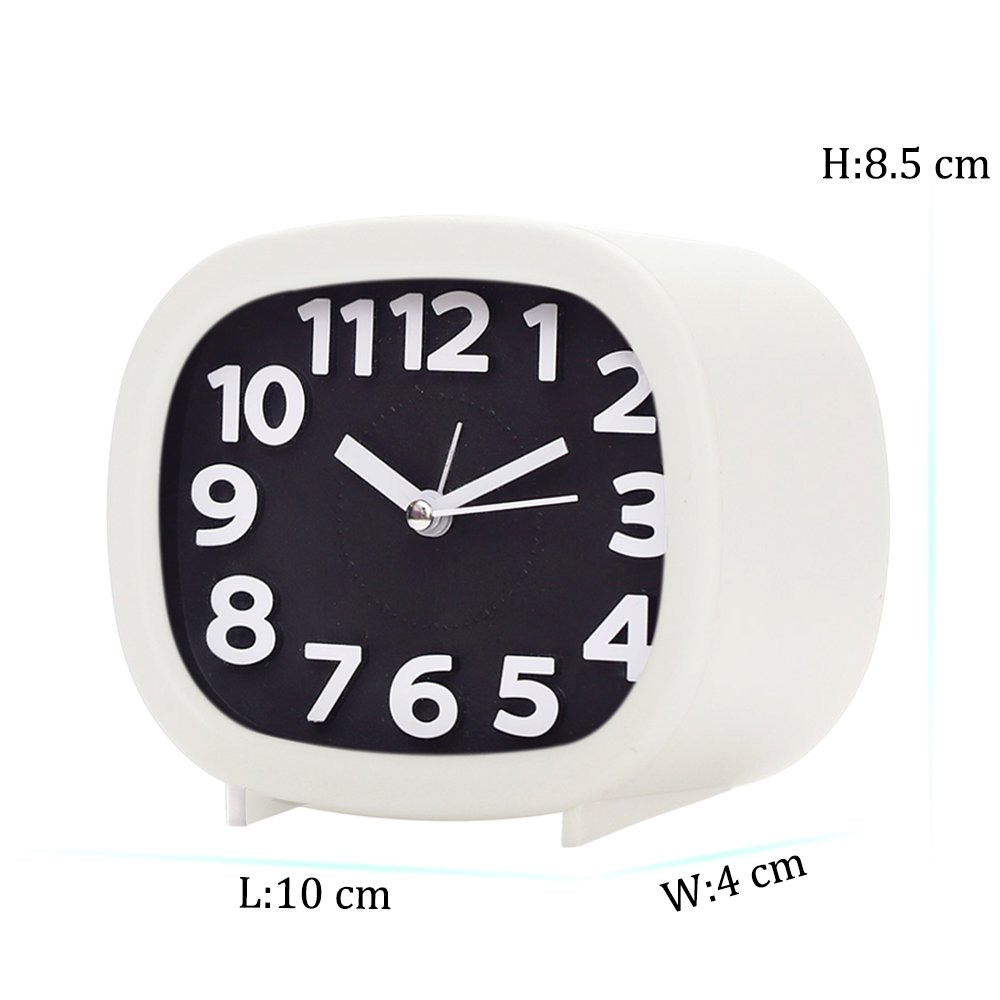 Jcobay Alarm Clocks Battery Operated Non Ticking Bedside Clocks Bedroom Accessories Silent Clock Simple to Set Analogue Clocks with Light Large Display for Heavy Sleepers Home Office