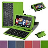 Fire 7 2015 Bluetooth Keyboard Case,Mama Mouth Coustom Design Slim Stand PU Leather Case Cover With Romovable Bluetooth Keyboard For 7'' Amazon Fire 7 Tablet 5th Generation 2015 release,Green