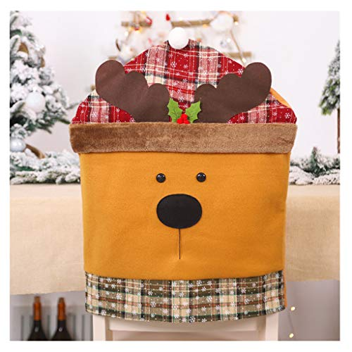 ErYao Christmas Decoration Chair Covers Dinning Chair Back Slipcover Santa Claus Snowman Elk Dining Seat Cover Christmas Design Home Party Decor (Elk) (Designs Fabric Covers Patio With)