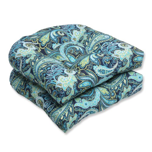 Pillow Perfect Outdoor Pretty Paisley Wicker Seat Cushion, Blue, Set of ()