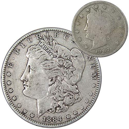 1884 Morgan Silver Dollar VF-Very Fine with 1907 Liberty Head Nickel Good