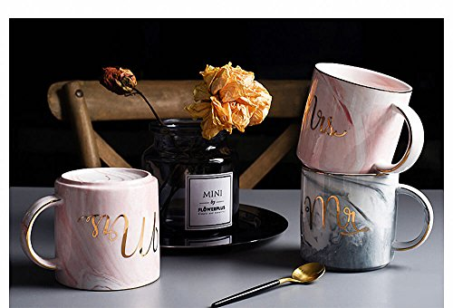 Vilight Mr Mrs Coffee Mugs Set - Gift for Bridal Shower Engagement Wedding and Married Couples Anniversary - Ceramic Marble Cups 11.5 oz by VILIGHT (Image #3)