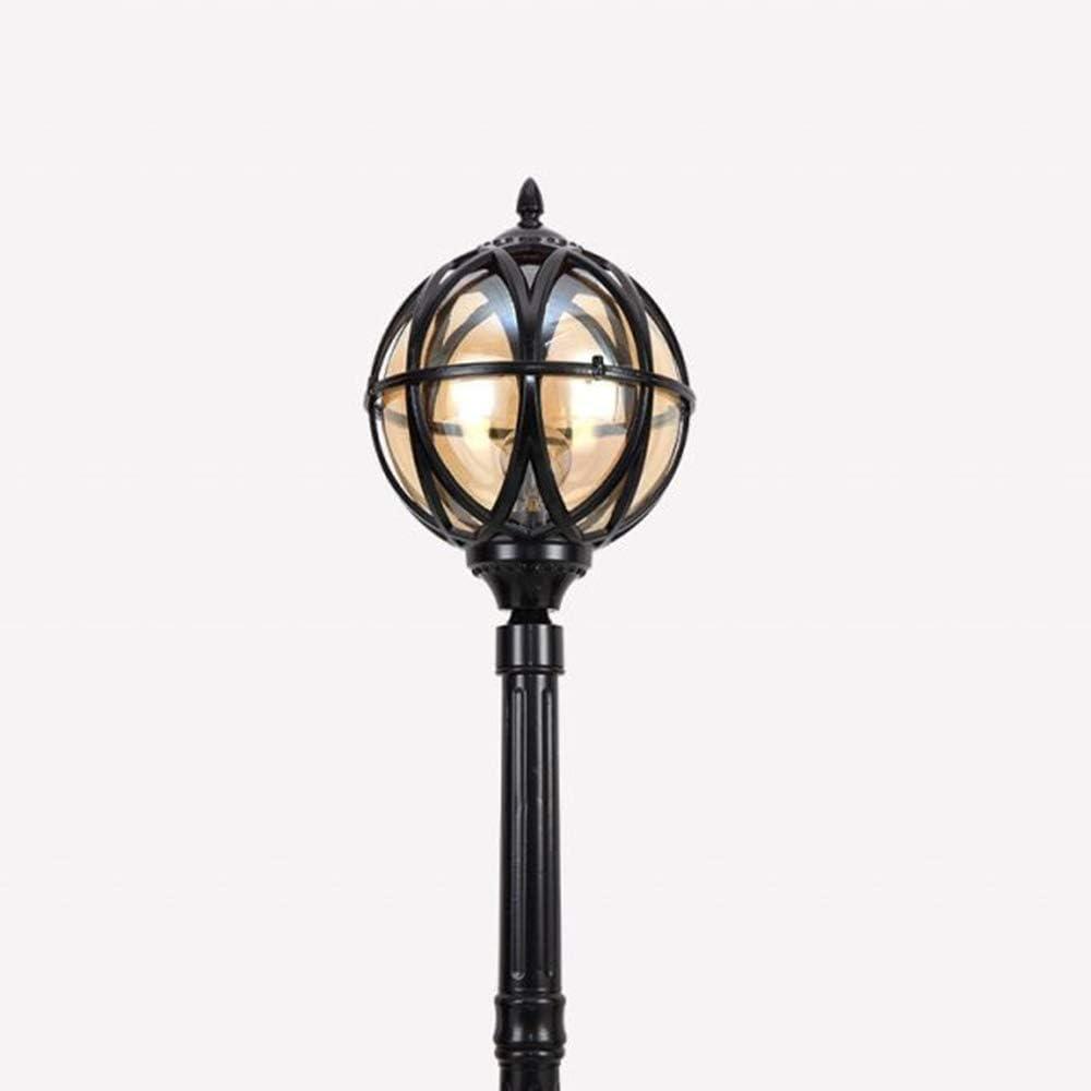 Höhe 110CM Schwarz Außenstraßenleuchte Wasserdichte IP65 Wegeleuchte Vintage Rund Glas Lampenschirm Gartenlampe Wege-lampe Rasen Garten Pfad Tür Terrassen Pollerlampe H80cm