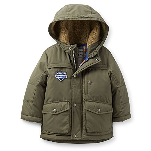 Carter's Little Boys' Heavyweight Fleece-Lined Parka Jacket (7, Olive) - Fleece Heavyweight Parka