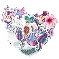 Navy Peony Mystical Mermaid Stickers and Decals (21 Pieces)   Aesthetic Stickers for Water Bottles and Phone Cases   Unique Party Favor for Girls   Waterproof Stickers for Hydro Flasks and Laptops