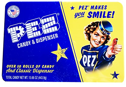 PEZ Candy and Dispenser Classic Gift Set Tin - Includes Classic Dispenser and Over 50 Rolls of Pez Candy,Blue