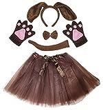 Petitebella Dog Headband Bowtie Tail Gloves Tutu Lady 5pc Costume (One Size, Brown Dog)