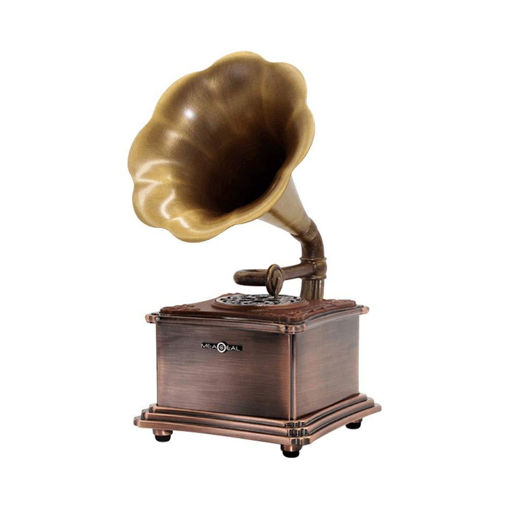 レトロホーンターンテーブルのbluetoothスピーカーヴィンテージ音楽プレイ記録機ホームおもちゃ家具記事ギフトミニラジオサウンドシステムusb ステレオスピーカー (色 : Copper, サイズ : 212mm*178mm*236mm) B07SPBLW6G Copper 212mm*178mm*236mm