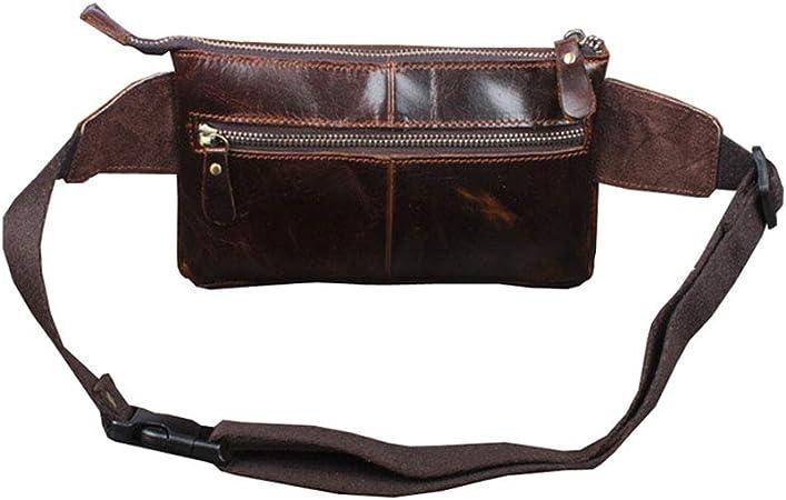 Xieben Vintage Fanny Pack De Cuero Bolso De La Cintura para Hombres Mujeres Viajes Senderismo Correr Hip Bum Cintur/ón Delgado Tel/éfono Celular Monedero Caf/é
