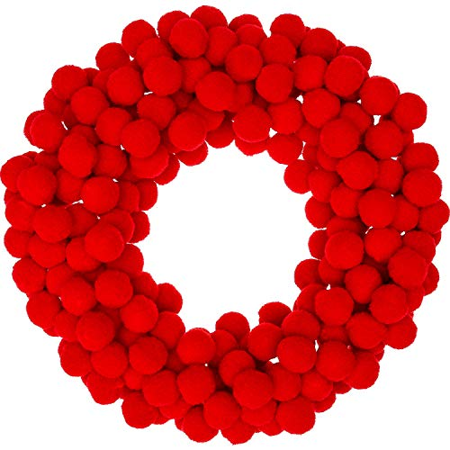 Sumind 250 Pieces Mini Pompoms Small Fluffy Pom Poms for Decor Arts Crafts DIY, Red (15 mm)