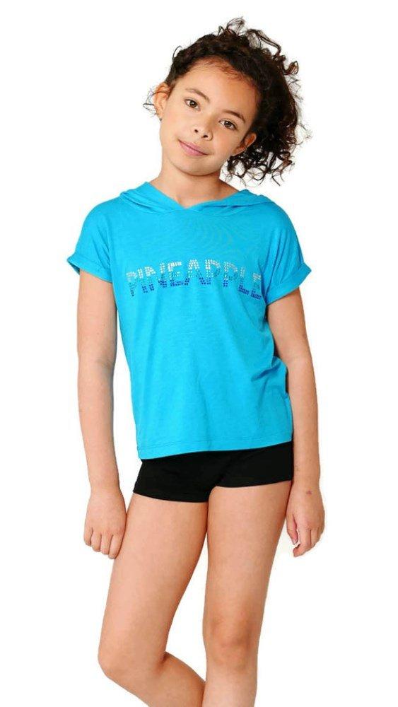 2cba620c6 PINEAPPLE DANCEWEAR GIRLS Short Sleeved Dance Hoodie Blue with ...